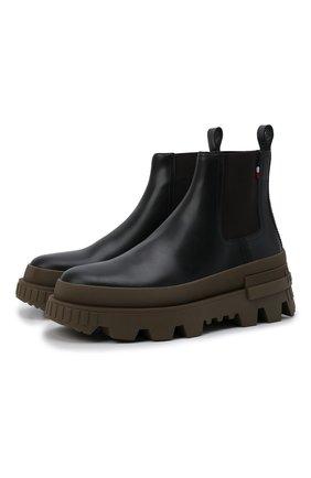 Мужские кожаные челси lir MONCLER черного цвета, арт. G2-09A-4F708-00-02SWL | Фото 1 (Материал внутренний: Натуральная кожа; Подошва: Массивная; Каблук высота: Высокий; Мужское Кросс-КТ: Сапоги-обувь, Челси-обувь)