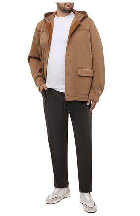 Мужские хлопковые брюки MARCO PESCAROLO коричневого цвета, арт. CHIAIAM/ZIP+SFILA/4402 | Фото 2 (Материал внешний: Хлопок; Случай: Повседневный; Стили: Кэжуэл; Big sizes: Big Sizes; Длина (брюки, джинсы): Стандартные)