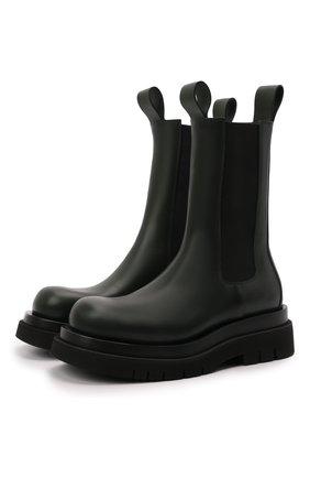 Мужские кожаные челси lug BOTTEGA VENETA хаки цвета, арт. 592081/VIFH0   Фото 1 (Материал внутренний: Натуральная кожа; Мужское Кросс-КТ: Сапоги-обувь, Челси-обувь; Подошва: Массивная; Высота голенища: Высокие; Каблук высота: Высокий)
