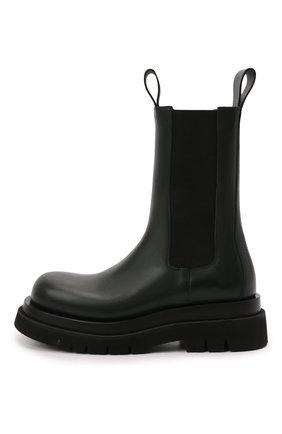 Мужские кожаные челси lug BOTTEGA VENETA хаки цвета, арт. 592081/VIFH0   Фото 2 (Материал внутренний: Натуральная кожа; Мужское Кросс-КТ: Сапоги-обувь, Челси-обувь; Подошва: Массивная; Высота голенища: Высокие; Каблук высота: Высокий)