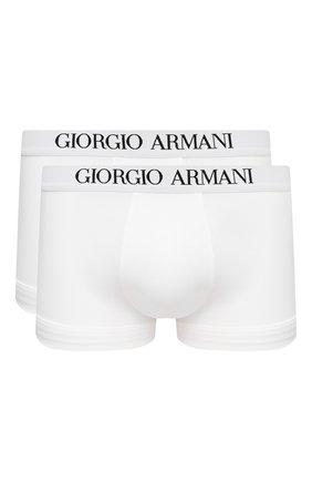 Мужские комплект из двух боксеров GIORGIO ARMANI белого цвета, арт. 100110/CC813   Фото 1 (Материал внешний: Лиоцелл, Хлопок; Мужское Кросс-КТ: Трусы; Кросс-КТ: бельё)