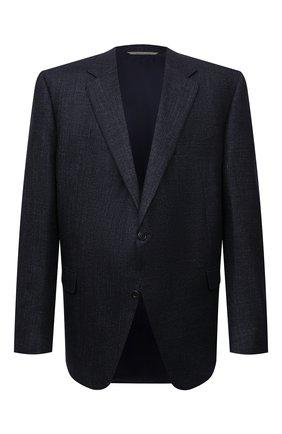Мужской пиджак из шерсти и шелка CANALI синего цвета, арт. 11280/CF01749/60-64   Фото 1 (Длина (для топов): Стандартные; Рукава: Длинные; Материал подклада: Купро; Материал внешний: Шерсть; Случай: Формальный; Пиджаки М: Прямой; Стили: Классический; Big sizes: Big Sizes)