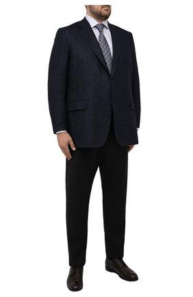 Мужской пиджак из шерсти и шелка CANALI синего цвета, арт. 11280/CF01749/60-64   Фото 2 (Длина (для топов): Стандартные; Рукава: Длинные; Материал подклада: Купро; Материал внешний: Шерсть; Случай: Формальный; Пиджаки М: Прямой; Стили: Классический; Big sizes: Big Sizes)