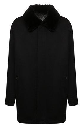 Мужской кашемировое пальто с меховой отделкой ZILLI черного цвета, арт. MAW-TIMBU-03001/0001/62-68 | Фото 1 (Материал внешний: Шерсть, Кашемир; Материал подклада: Шелк; Рукава: Длинные; Длина (верхняя одежда): До середины бедра; Мужское Кросс-КТ: пальто-верхняя одежда; Стили: Классический; Big sizes: Big Sizes)