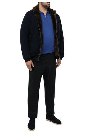 Мужские шерстяные брюки MARCO PESCAROLO темно-синего цвета, арт. CHIAIAM/ZIP+RIS/4422 | Фото 2 (Материал внешний: Шерсть; Длина (брюки, джинсы): Стандартные; Случай: Повседневный; Стили: Кэжуэл; Big sizes: Big Sizes)