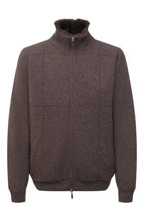 Мужской кашемировый бомбер с меховой подкладкой SVEVO коричневого цвета, арт. 01039SA21/MP01/2/60-62 | Фото 1 (Рукава: Длинные; Материал внешний: Кашемир, Шерсть; Длина (верхняя одежда): Короткие; Кросс-КТ: Куртка; Мужское Кросс-КТ: утепленные куртки, шерсть и кашемир; Принт: Без принта; Стили: Кэжуэл; Big sizes: Big Sizes)