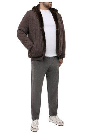 Мужской кашемировый бомбер с меховой подкладкой SVEVO коричневого цвета, арт. 01039SA21/MP01/2/60-62 | Фото 2 (Рукава: Длинные; Материал внешний: Кашемир, Шерсть; Длина (верхняя одежда): Короткие; Кросс-КТ: Куртка; Мужское Кросс-КТ: утепленные куртки, шерсть и кашемир; Принт: Без принта; Стили: Кэжуэл; Big sizes: Big Sizes)