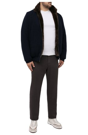 Мужской кашемировый бомбер с меховой подкладкой SVEVO темно-синего цвета, арт. 01039SA21/MP01/2/60-62 | Фото 2 (Материал внешний: Шерсть, Кашемир; Рукава: Длинные; Длина (верхняя одежда): Короткие; Кросс-КТ: Куртка; Мужское Кросс-КТ: утепленные куртки, шерсть и кашемир; Принт: Без принта; Стили: Кэжуэл; Big sizes: Big Sizes)