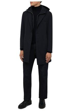 Мужской шерстяная водолазка CORNELIANI темно-синего цвета, арт. 88M503-1825100/00 | Фото 2 (Материал внешний: Шерсть; Длина (для топов): Стандартные; Рукава: Длинные; Мужское Кросс-КТ: Водолазка-одежда; Стили: Кэжуэл; Принт: Без принта)