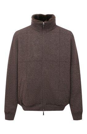 Мужской кашемировый бомбер с меховой подкладкой SVEVO коричневого цвета, арт. 01039XSA21/MP01/2 | Фото 1 (Материал внешний: Кашемир, Шерсть; Рукава: Длинные; Длина (верхняя одежда): Короткие; Кросс-КТ: Куртка; Мужское Кросс-КТ: утепленные куртки, шерсть и кашемир; Принт: Без принта; Стили: Кэжуэл; Big sizes: Big Sizes)