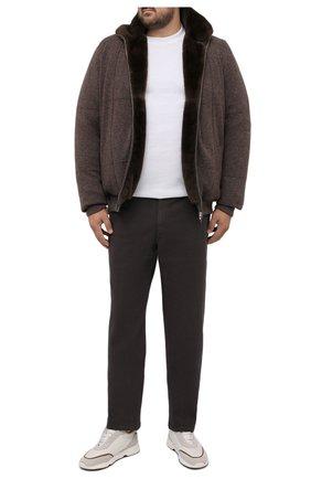 Мужской кашемировый бомбер с меховой подкладкой SVEVO коричневого цвета, арт. 01039XSA21/MP01/2 | Фото 2 (Материал внешний: Кашемир, Шерсть; Рукава: Длинные; Длина (верхняя одежда): Короткие; Кросс-КТ: Куртка; Мужское Кросс-КТ: утепленные куртки, шерсть и кашемир; Принт: Без принта; Стили: Кэжуэл; Big sizes: Big Sizes)