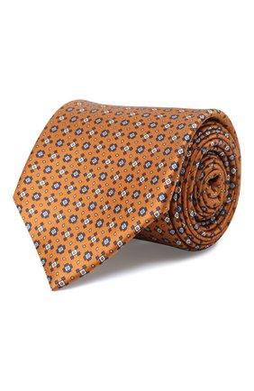 Мужской комплект из галстука и платка BRIONI оранжевого цвета, арт. 08A900/01452   Фото 1 (Материал: Шелк, Текстиль)