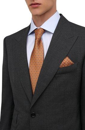 Мужской комплект из галстука и платка BRIONI оранжевого цвета, арт. 08A900/01452   Фото 2 (Материал: Шелк, Текстиль)