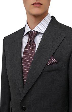 Мужской комплект из галстука и платка BRIONI бордового цвета, арт. 08A900/01452   Фото 2 (Материал: Шелк, Текстиль)