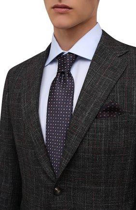 Мужской комплект из галстука и платка BRIONI темно-синего цвета, арт. 08A900/01452   Фото 2 (Материал: Текстиль, Шелк)