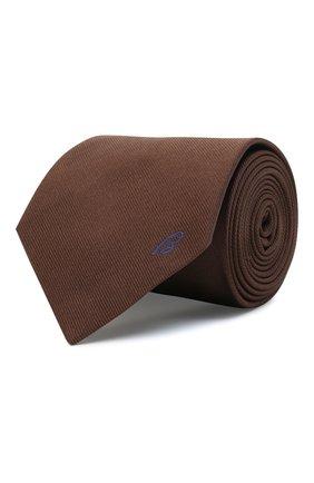 Мужской шелковый галстук BRIONI коричневого цвета, арт. 062I00/0943C   Фото 1 (Материал: Текстиль, Шелк; Принт: Без принта)