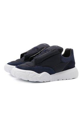 Мужские комбинированные кроссовки ALEXANDER MCQUEEN синего цвета, арт. 667804/W4R21 | Фото 1 (Материал внешний: Текстиль; Материал внутренний: Натуральная кожа; Подошва: Массивная; Стили: Гранж)