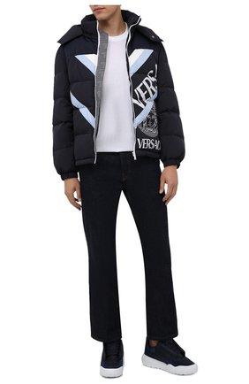 Мужские комбинированные кроссовки ALEXANDER MCQUEEN синего цвета, арт. 667804/W4R21 | Фото 2 (Материал внешний: Текстиль; Материал внутренний: Натуральная кожа; Подошва: Массивная; Стили: Гранж)