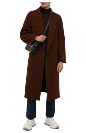 Мужской шерстяная водолазка DANIELE FIESOLI темно-коричневого цвета, арт. DF 0029   Фото 2 (Материал внешний: Шерсть; Рукава: Длинные; Длина (для топов): Стандартные; Мужское Кросс-КТ: Водолазка-одежда; Стили: Кэжуэл; Принт: Без принта)