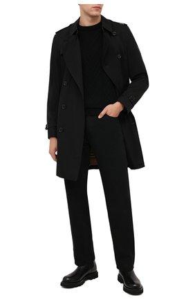 Мужской шерстяной свитер DANIELE FIESOLI черного цвета, арт. DF 0100   Фото 2 (Материал внешний: Шерсть; Рукава: Длинные; Длина (для топов): Стандартные; Мужское Кросс-КТ: Свитер-одежда; Стили: Кэжуэл; Принт: Без принта)