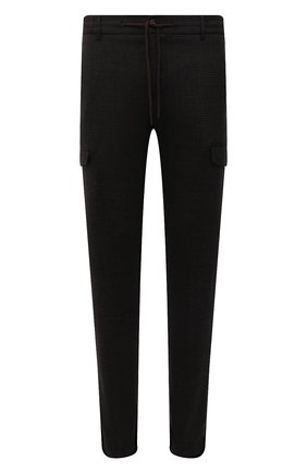 Мужские брюки-карго из шерсти и хлопка BERWICH темно-коричневого цвета, арт. SUB/CM1128X | Фото 1 (Материал подклада: Купро; Длина (брюки, джинсы): Стандартные; Материал внешний: Шерсть; Случай: Повседневный; Силуэт М (брюки): Карго; Стили: Кэжуэл)