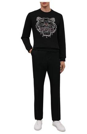 Мужской хлопковый свитшот KENZO черного цвета, арт. FB65SW1244XF | Фото 2 (Рукава: Длинные; Материал внешний: Хлопок; Длина (для топов): Стандартные; Мужское Кросс-КТ: свитшот-одежда; Принт: С принтом; Стили: Кэжуэл)