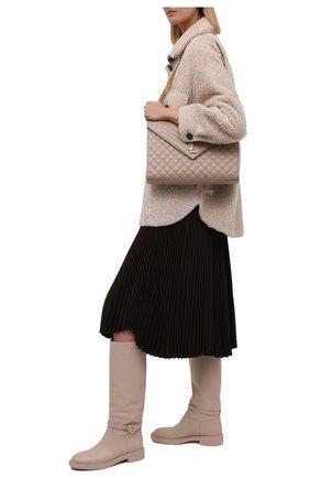 Женские кожаные сапоги GIANVITO ROSSI светло-бежевого цвета, арт. G80345.20G0M.VIPM0US | Фото 2 (Подошва: Платформа; Материал внутренний: Натуральная кожа; Высота голенища: Средние; Каблук высота: Низкий; Каблук тип: Устойчивый)