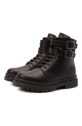 Детские кожаные ботинки BRUNELLO CUCINELLI темно-коричневого цвета, арт. BMAGNZH123   Фото 1 (Материал внутренний: Натуральная кожа)