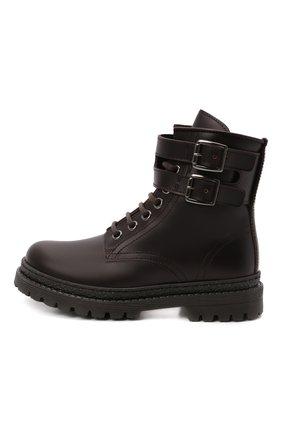 Детские кожаные ботинки BRUNELLO CUCINELLI темно-коричневого цвета, арт. BMAGNZH123   Фото 2 (Материал внутренний: Натуральная кожа)