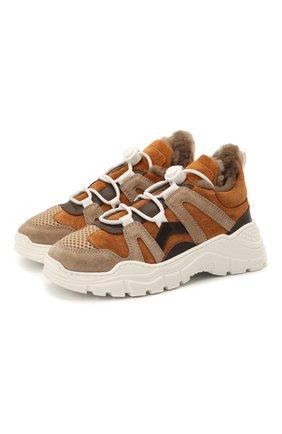 Детские замшевые кроссовки с мехом GALLUCCI коричневого цвета, арт. J20168KM/SC S S G0M | Фото 1 (Материал утеплителя: Натуральный мех)