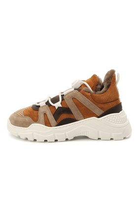 Детские замшевые кроссовки с мехом GALLUCCI коричневого цвета, арт. J20168KM/SC S S G0M | Фото 2 (Материал утеплителя: Натуральный мех)