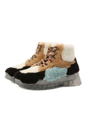 Детские меховые ботинки GALLUCCI разноцветного цвета, арт. J20211AM/SC P V G0M | Фото 1 (Материал внешний: Натуральный мех; Материал внутренний: Натуральная кожа)