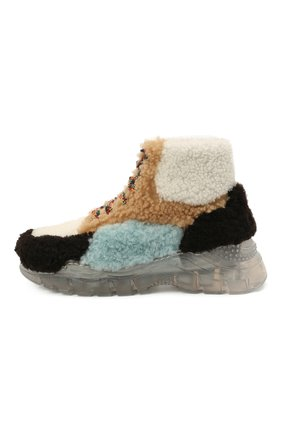 Детские меховые ботинки GALLUCCI разноцветного цвета, арт. J20211AM/SC P V G0M | Фото 2 (Материал внешний: Натуральный мех; Материал внутренний: Натуральная кожа)