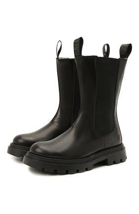 Детские кожаные полусапоги GALLUCCI черного цвета, арт. J30110AM/TR P L G0M | Фото 1 (Материал утеплителя: Шерсть)