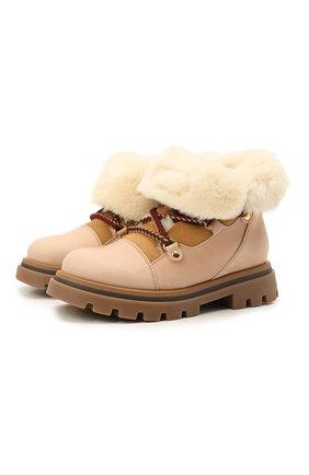 Детские кожаные ботинки GALLUCCI бежевого цвета, арт. J30114BM/TR S S G0M MAI/M0N | Фото 1 (Материал утеплителя: Натуральный мех)