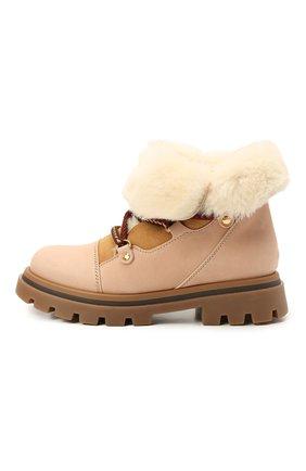 Детские кожаные ботинки GALLUCCI бежевого цвета, арт. J30114BM/TR S S G0M MAI/M0N | Фото 2 (Материал утеплителя: Натуральный мех)