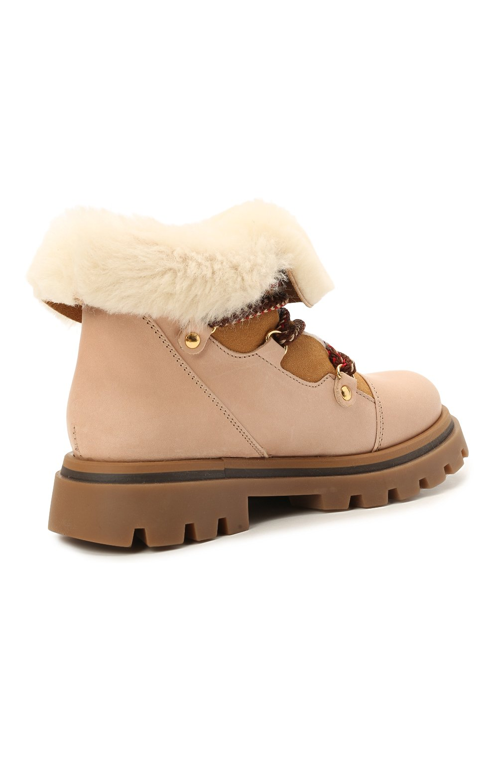 Детские кожаные ботинки GALLUCCI бежевого цвета, арт. J30114BM/TR S S G0M MAI/M0N | Фото 3 (Материал утеплителя: Натуральный мех)