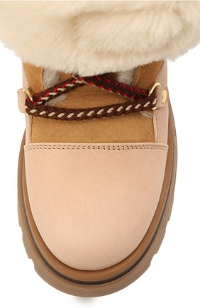 Детские кожаные ботинки GALLUCCI бежевого цвета, арт. J30114BM/TR S S G0M MAI/M0N | Фото 4 (Материал утеплителя: Натуральный мех)
