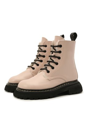 Детские кожаные ботинки GALLUCCI светло-розового цвета, арт. J30124BM/TR S S G0M | Фото 1 (Материал утеплителя: Натуральный мех)