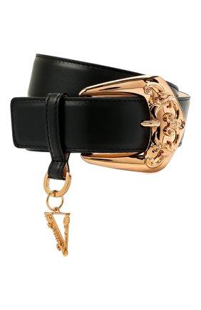 Женский кожаный ремень VERSACE черного цвета, арт. 1001424/1A01056 | Фото 1