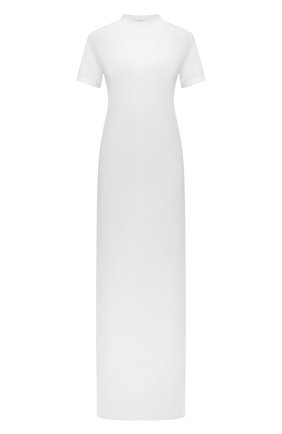 Женское хлопковое платье THE ROW белого цвета, арт. 5840K220 | Фото 1 (Рукава: Короткие; Материал внешний: Хлопок; Длина Ж (юбки, платья, шорты): Макси; Женское Кросс-КТ: Платье-одежда; Случай: Повседневный; Стили: Кэжуэл)