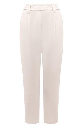 Женские хлопковые брюки BRUNELLO CUCINELLI белого цвета, арт. M0R24P7745   Фото 1 (Материал внешний: Хлопок; Длина (брюки, джинсы): Стандартные; Женское Кросс-КТ: Брюки-одежда; Стили: Кэжуэл; Силуэт Ж (брюки и джинсы): Прямые)