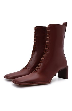 Женские кожаные ботильоны dionne MIISTA коричневого цвета, арт. MI_3447 | Фото 1 (Подошва: Плоская; Каблук высота: Средний; Материал внутренний: Натуральная кожа; Каблук тип: Устойчивый)