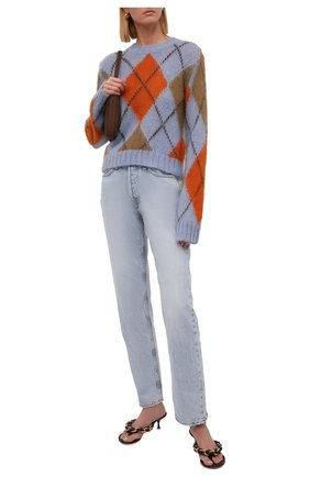 Женский свитер KENZO светло-голубого цвета, арт. FB62PU6103CC   Фото 2 (Материал внешний: Синтетический материал, Шерсть; Рукава: Длинные; Длина (для топов): Стандартные; Женское Кросс-КТ: Свитер-одежда; Стили: Кэжуэл)