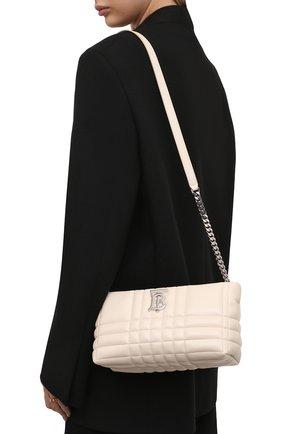 Женская сумка lola BURBERRY белого цвета, арт. 8046227 | Фото 2 (Ремень/цепочка: На ремешке; Материал: Натуральная кожа; Размер: small; Сумки-технические: Сумки через плечо)