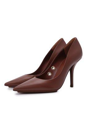 Женские кожаные туфли aubri 100 BURBERRY коричневого цвета, арт. 8042467 | Фото 1 (Подошва: Плоская; Каблук высота: Высокий; Материал внутренний: Натуральная кожа; Каблук тип: Шпилька)