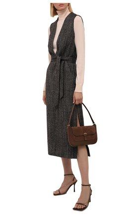 Женское шерстяное платье DRIES VAN NOTEN коричневого цвета, арт. 212-011096-3040 | Фото 2 (Материал внешний: Шерсть; Длина Ж (юбки, платья, шорты): Миди; Материал подклада: Вискоза; Женское Кросс-КТ: Платье-одежда; Случай: Повседневный; Стили: Кэжуэл)
