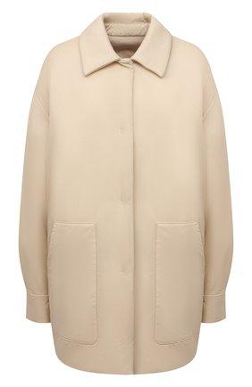 Женская двусторонняя куртка LORO PIANA бежевого цвета, арт. FAL7249 | Фото 1 (Материал утеплителя: Шерсть, Пух и перо; Материал внешний: Синтетический материал; Кросс-КТ: Куртка; Стили: Кэжуэл; Рукава: Длинные; Длина (верхняя одежда): До середины бедра)