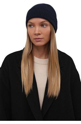 Женская кашемировая шапка GIORGIO ARMANI темно-синего цвета, арт. 797258/1A512 | Фото 2 (Материал: Шерсть, Кашемир)
