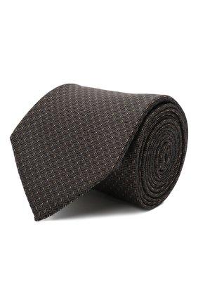 Мужской шелковый галстук BOSS коричневого цвета, арт. 50461349 | Фото 1 (Материал: Шелк, Текстиль; Принт: С принтом)